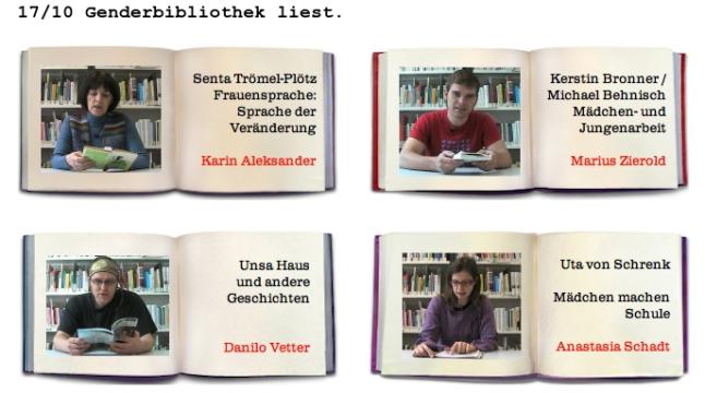 Die Genderbibliothek liest (Screenshot: volkslesen.tv)