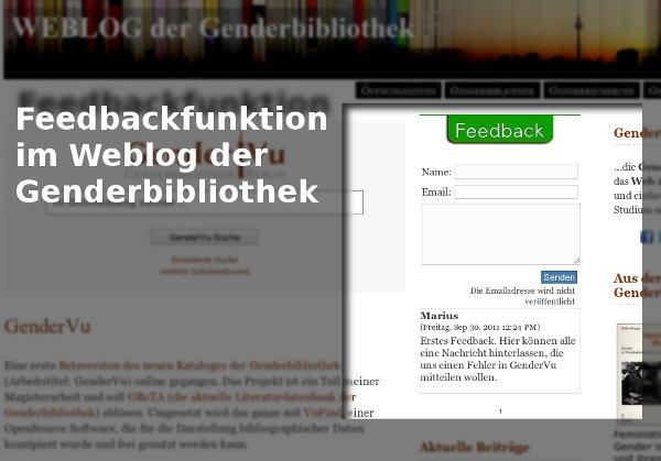 Feedbackfunktion im Weblog der Genderbibliothek