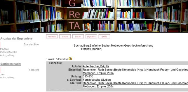 """Suchanfrage """"Methoden Geschlechterforschung"""" in GReTA"""