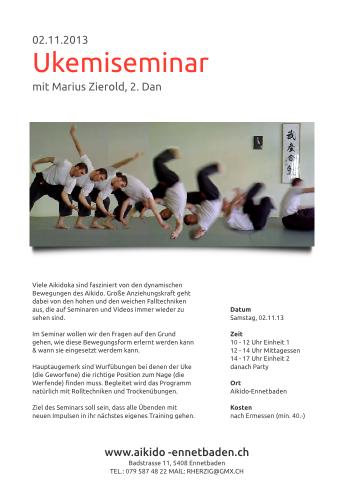 Ausschreibung Ukemiseminar mit Marius Zierold (2.Dan)