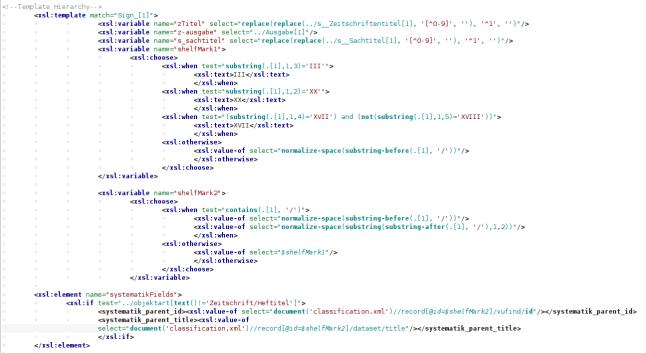 Zu sehen ist ein Bildschirmfoto eines XSLT Skriptes